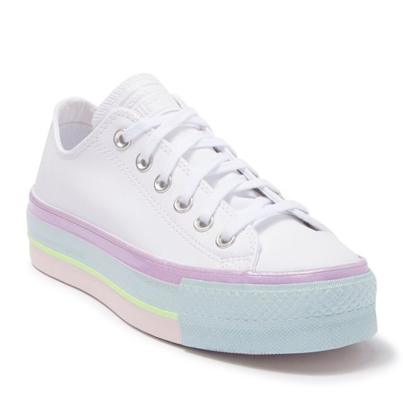 Nwt Converse Pastel Rainbow Platform